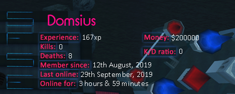 Player statistics userbar for Domsius