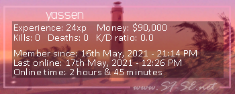 Player statistics userbar for yassen