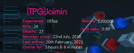 Player statistics userbar for [TPG]Jaimin