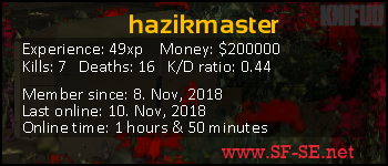 Player statistics userbar for hazikmaster