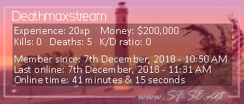 Player statistics userbar for Deathmaxstream